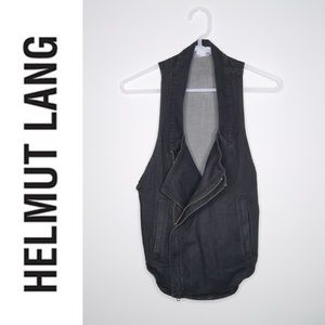 Helmut Lang black denim Moto zip vest size ps